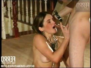 Зрелая госпожа трахается с молодым рабом